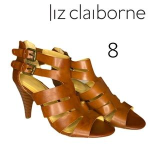 Liz Claiborne 'Gavi' Cognac Stacked Heeled Sandals